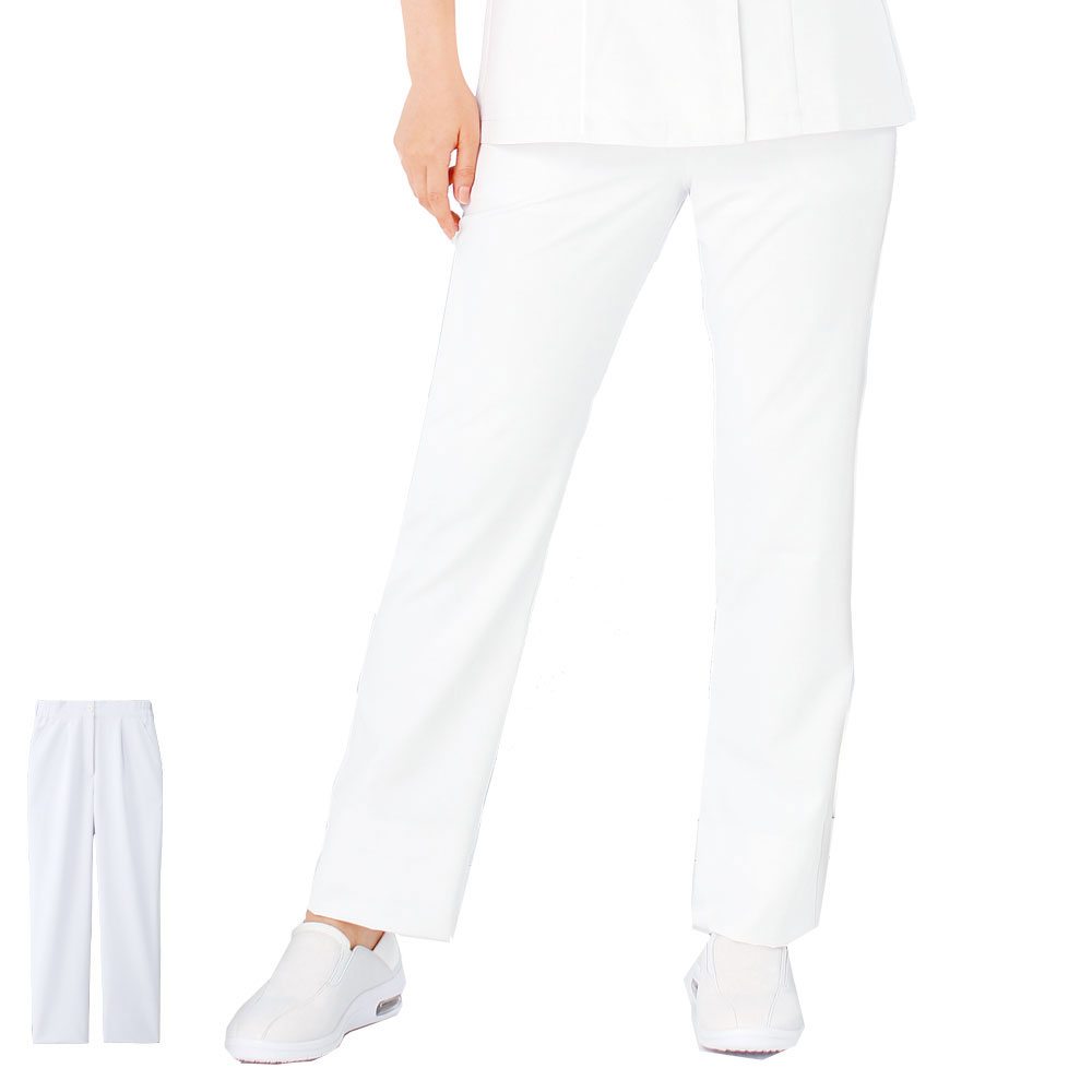 ALL WHITE すっきり美脚ストレートパンツ