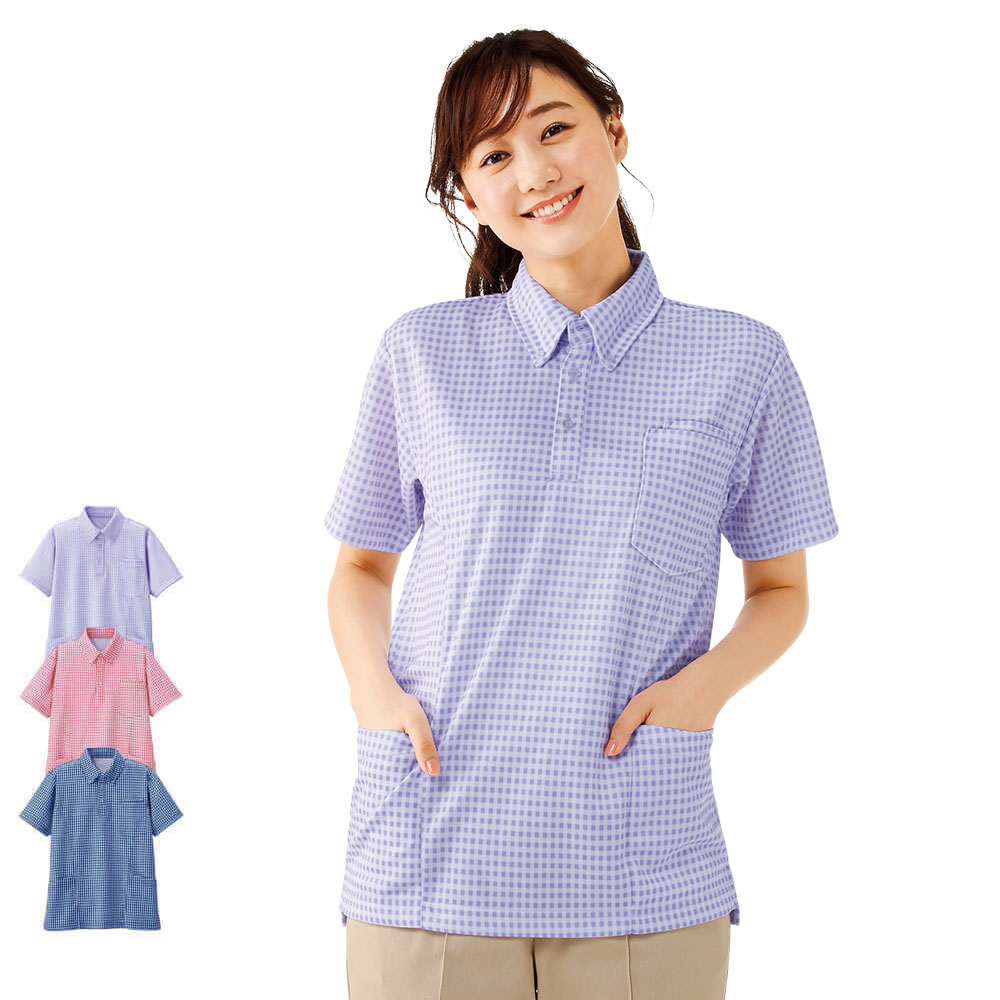 ギンガムチェック サイドポケットニットシャツ