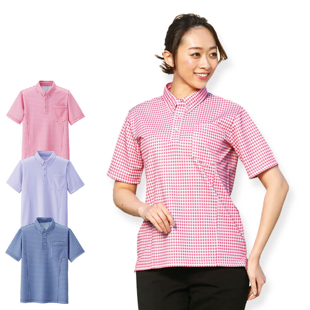 ギンガムチェック ニットシャツ(男女兼用)